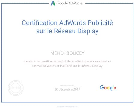 Certification Google Adwords sur le réseau Display
