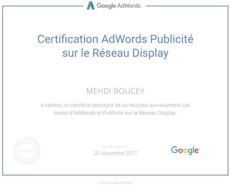 Certification Google Adwords sur le réseau Display