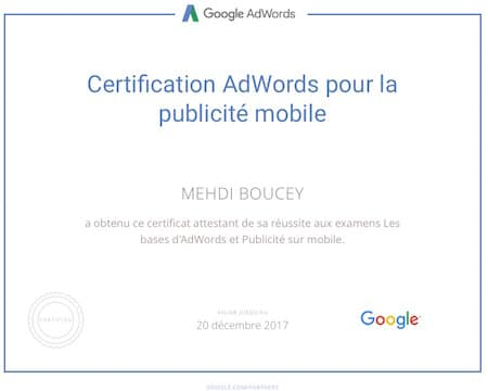 Certification Google Adwords Publicité Mobile