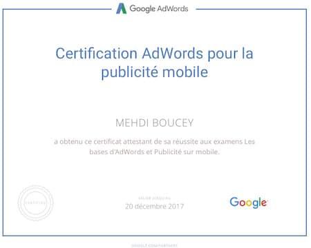 Certification Google Adwords Publicité Mobile