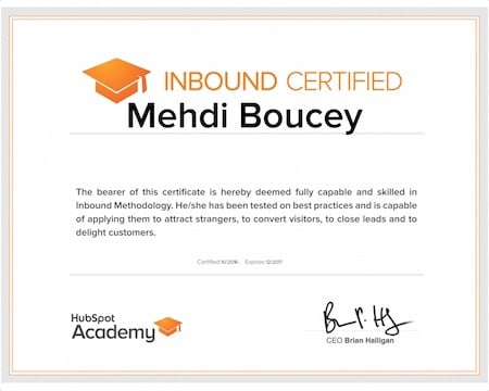 Certification Inbound Marketing de Hubspot
